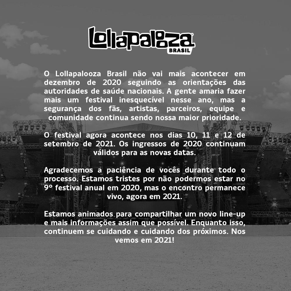 Lollapalooza Brasil Novas Datas - Comunicado 1