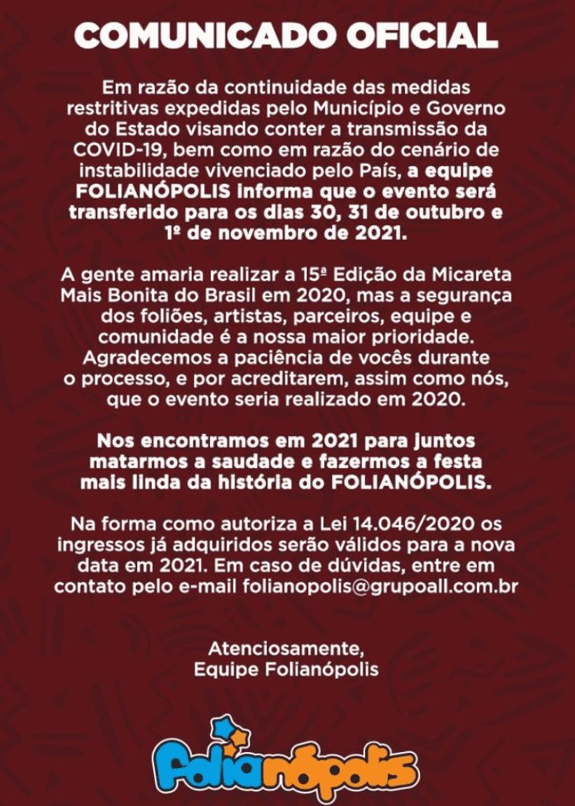 Folianópolis - Alteração de Datas - Comunicado Oficial 3