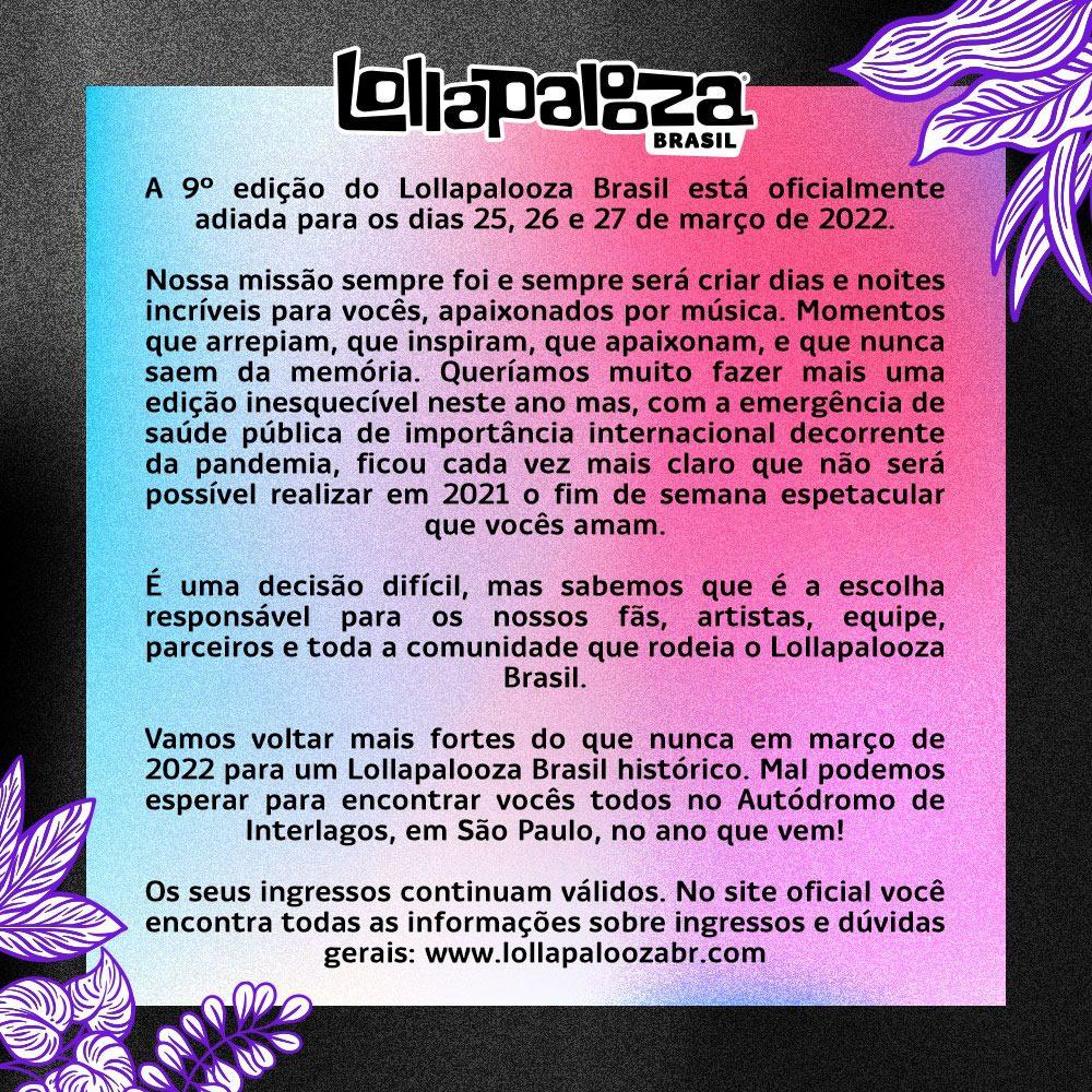 Lollapalooza Brasil Novas Datas – Comunicado Oficial